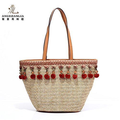 0a547d2258d8 Beach Tote Bag Handmade Straw Woven with Tassel and Bonjour Slogan ...