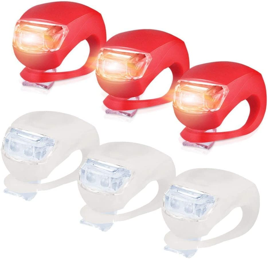 LED Sicherheitslicht Silikon Leuchte Leuchte wasserdichte Ultra Bright Blinklicht Taschenlampe am Rucksack befestigt About1988 LED Fahrradlicht wasserdicht Fahrradlichter f/ür alle Fahrr/äder