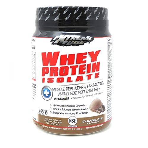 Bluebonnet Nutrition Extreme Edge Whey Protein Isolate Powder, Grass Fed Cows, 26 Grams of Protein, No Sugar Added, Non GMO, Gluten Free, Soy Free, Kosher Dairy, 1 lb, 14 Servings, Chocolate Flavor