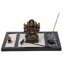 Ganesha Statue Hindu Lord of Wisdom Incense Holder/Burner Zen Garden Tray Kit
