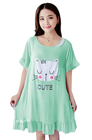71a159872d ainr Women s Cute Cats Print Short Sleeve Nightshirt Nightdress 1 OS at  Amazon Women s Clothing store