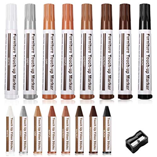 Boxgear Furniture Repair Markers and Wax Sticks with Sharpener for Stains, Scratches, Wood Floor, Tables, Desks, Maple, Oak, Cherry, Walnut, Grey, White, Black, Mahogany
