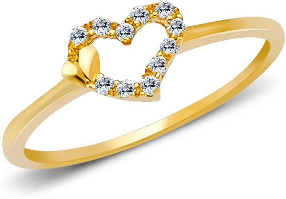 Ioka 14K Solid Yellow Gold Fancy Big And Small Hearts CZ Ring
