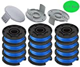 TOPEMAI AC14RL3A String Trimmer Replacement Spool Line with 522994001 Cap for Ryobi One+ 24V, 18V, and 40V Cordless Trimmers, 0.065' Autofeed Replacement Spool (12 Spools + 3 Caps)