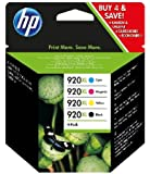 HP 920XL - Pack de ahorro de 4 cartuchos de tinta Original HP 920XL de álta capacidad Negro, Cian, Magenta, Amarillo para HP OfficeJet series 6000, 6500, 7000, 6500, 7500