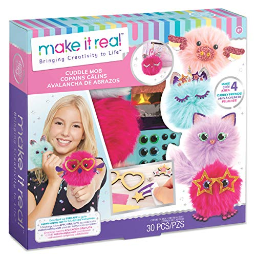 Make It Real - CuddleMob. DIY Pom Pom Characters Arts & Crafts Kit for Girls. Create Unique Plush Characters for Home Play, or to Attach to Kids' Backpacks or Purses -