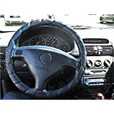 Rap Around Lace Tie Up New Drivers Steering Wheel Cover Protector Black Glove