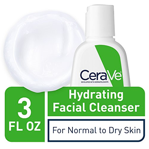 CeraVe Hydrating Facial Cleanser 3 oz Travel Size Face Wash, Dry to Normal Skin