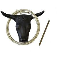 AJ Tack Adult Rodeo Practice Roping Steer Head Dummy Rope Lariat Lasso Hay Spikes Set