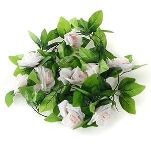 8.2ft Artificial Silk Rose Flower Ivy Vine Leaf Garland Wedding Party Home Decor,Light Pink 46