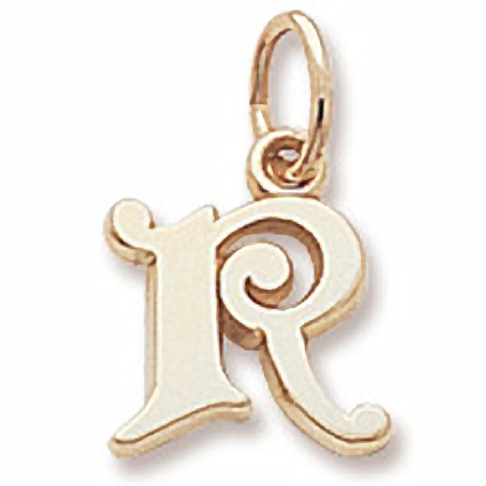 Initial R Charm In 14k Yellow Gold, Charms for Bracelets and Necklaces