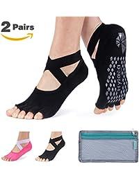 Yoga Pilates Socks for Women with Grip & Non Slip Toeless Socks for Barre, Ballet, Combed Cotton …