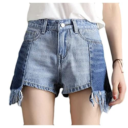 CBTLVSN Women Spring Stitching Slim Fit High Waist Raw Edge Jean Hot Shorts Blue XS hot sale