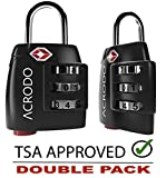 Acrodo TSA Approved All Metal Travel Luggage Lock 2 Pack for Suitcase and Baggage