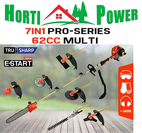 7IN1 ULTIMATE GARDEN TOOL 62CC CHAINSAW BRUSHCUTTER HEDGE TRIMMER by Horti Power