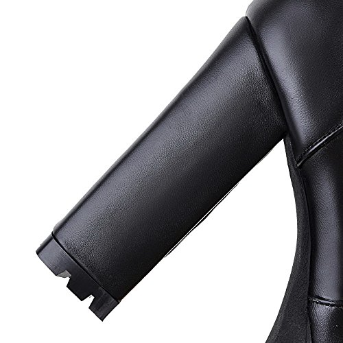 Fermeture Aalardom Haut Bottes Zip Talon Couleur Femme À D'orteil Cuir Noir Rond Pu Unie qr80q