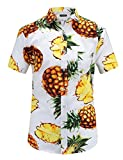 Best Man Buttons - JEETOO Men's Casual Pineapple Short Sleeve Button Down Review