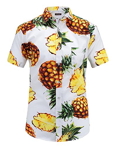 JEETOO Men's Casual Pineapple Short Sleeve Button Down Hawaiian Aloha Shirt(M,White)