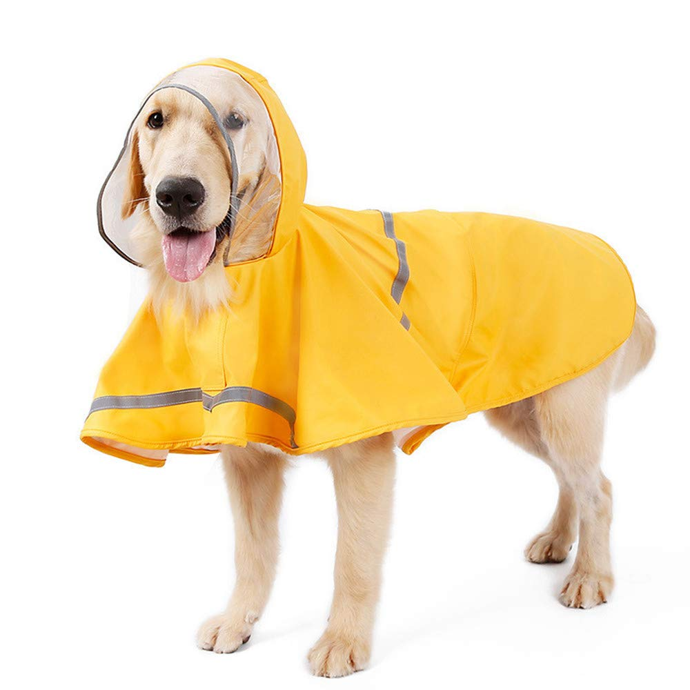 Pet Dog Raincoat, Large Dog Raincoat Adjustable Pet Waterproof Clothing, Light Raincoat Jacket Poncho Hoodie with Strip Reflective by WYF