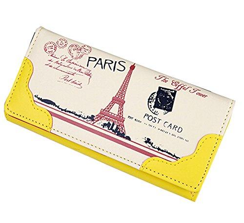 Eleganter PU-lange Mappen-Geldbeutel -Kupplungs-Mappen-Kartenhalter (Gelb)