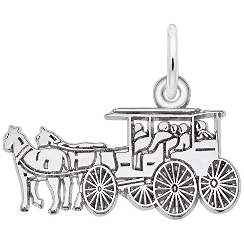 14k Gold Carriage - Rembrandt Charms, Horse and Carriage, 14K White Gold