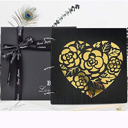 ZZHF xiangche Photo Album, Wooden Laminating Pasted Buckle Album Book Lovers Practical Romantic Commemorative Book Hollow Child Growing Up Photo Album Album (Color : C, Size : 2#)