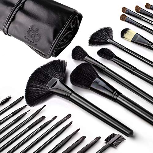 Professional Cosmetic Makeup Brushes Set - Beauty Make Up Face Kit Eyeshadow Foundation Eyeliner Bronzer Concealer Contour Brush for Blending Powder & Cream With Organizer Holder Case 24 Piece Black