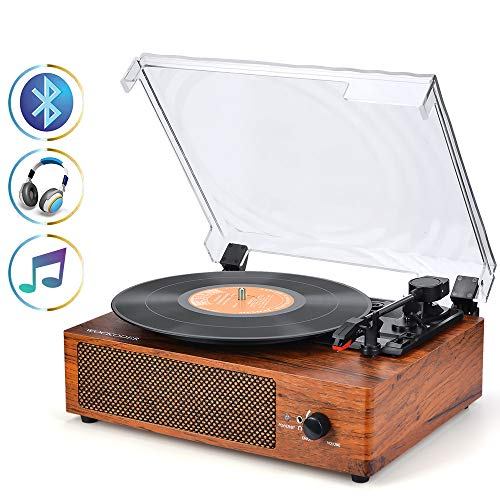 (Record Player Turntable 3-Speed Bluetooth Vinyl Record Player with Stereo Speaker Vintage Style Vinyl Record Player Best Xmas Gift)