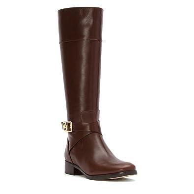 Amazon.com | Michael Kors Women's Leather Bryce Riding Boots ...