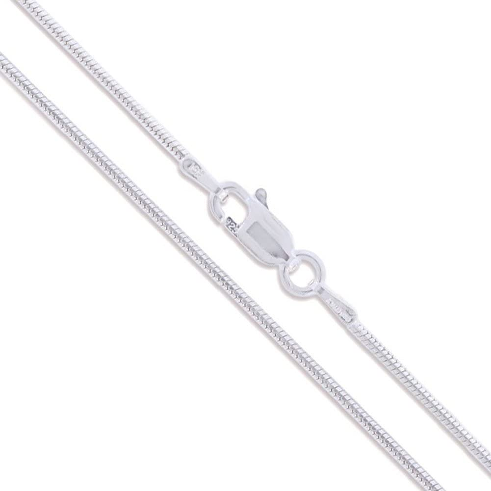 Sterling Silver Round Snake 0.8mm 0.9mm 1mm 1.2mm 1.6mm Chain 925 Italy Necklace