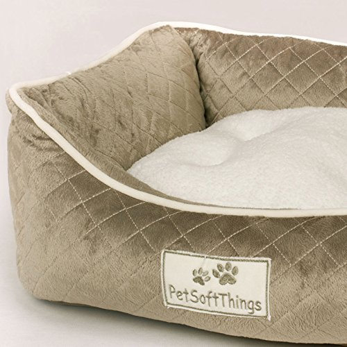 Cheap Pet Soft Things Microplush Quilted Pet Bed with Removable Pillow, 19″ x 24″ x 8″, Slate Green