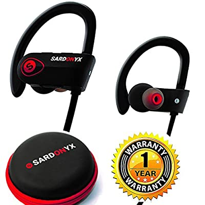Sardonyx SX-918 Bluetooth Headphones, Best Wireless Sport Earphones Noise Cancelling IPX7 Waterproof HD Stereo Headset w/ Mic, Secure-Fit Sweatproof Earbuds for Gym Running Workout Exercise