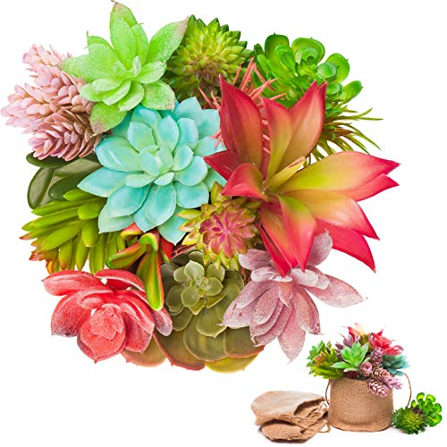 UNQUER Artificial Succulents Unpotted Mini Plants - 19PCS for Perfect Mini Greenery Set-Including 3 Burlap Bags, Faux Assorted Small Bulk Flowers, Mixed Plastic Fake Realistic Hanging Decoration ()