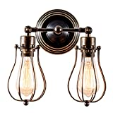 Vintage Wall Lights Adjustable Socket Industrial Lighting Rustic Wire Metal Cage Sconces Indoor Home Wall Lamp Retro Light Fixture (2-Light Lamp Base) (Oil Bronze)