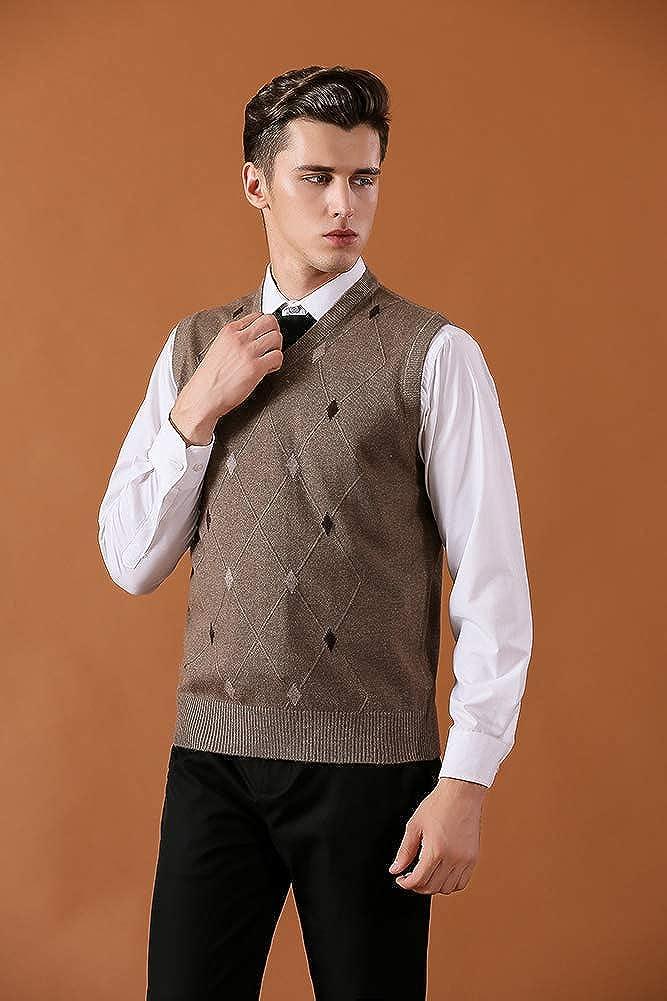 Jesdo Mens Casual Slim Fit V-Neck Rhombus Business Knitwear Sweater Vest
