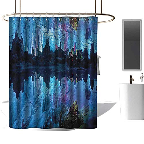 (homehot Shower Curtains kit Natural Cave Decorations,Illuminated Reed Flute Cistern with Artifical Lights Crystal Palace Myst Cave Image,Blue Indigo,W72 x L84,Shower Curtain for Girls)