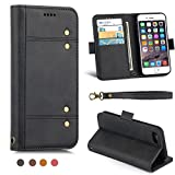 Samsung Galaxy S9 Case,PU Leather Slim Wallet Case with Detachable Magnetic Cover for 5.8 inch Samsung Galaxy S9, Smart Stand Protective Case with Card Holder and Wrist Strap-Black