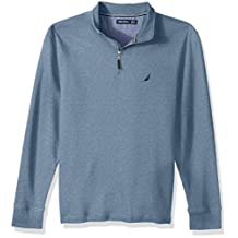 Nautica Men's Long Sleeve French Rib Half Zip Mockneck with Button Placket