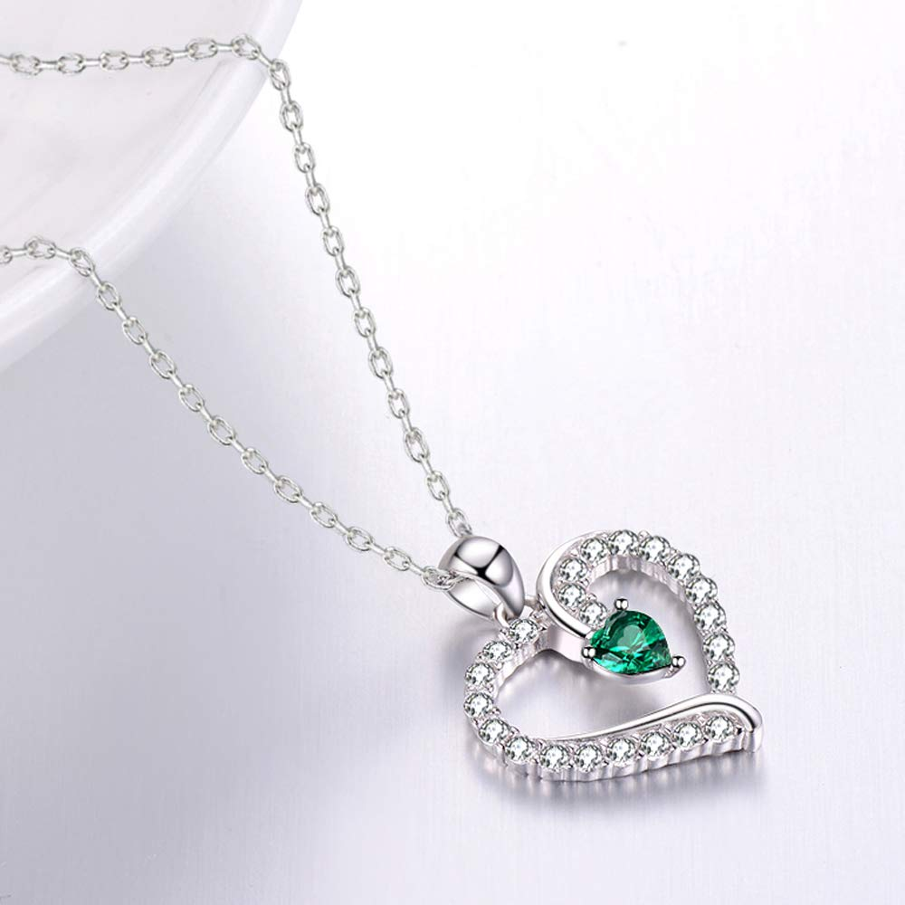 Love Heart Necklace Sterling Silver Jewelry Gifts for Women LC Green Emerald Necklace Birthday Gifts for Her 20 Chain