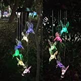 Topspeeder Color Changing Solar LED Mobile Wind Chime, Waterproof Six Hummingbird Wind Chimes for Home/Outdoor/ Party/Night / Festival Decor/Gift/ Garden Decoration
