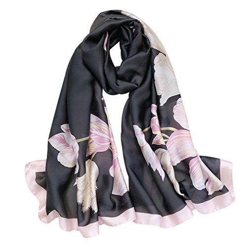 GERINLY Glitter Scarf and Wraps with Tulip Print Sheer Silk Feel Headcover Evening Shawls (Black)