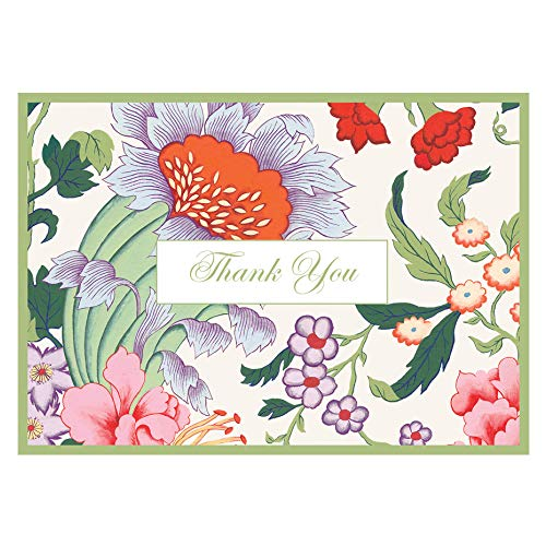 Caspari Chinese Silk Thank You Notes in Ivory, 6 Note Cards & 6 Envelopes