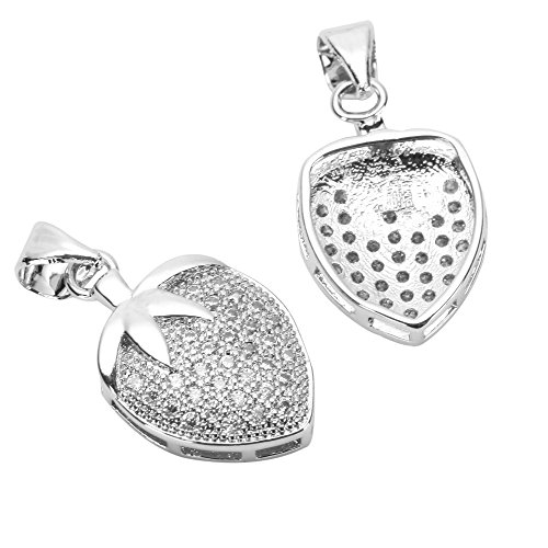 1pc Top Quality Cute Silver Strawberry Charm Pendant with Man Made Diamond Simulants # MCAC33