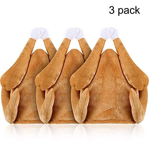 3 Pieces Roasted Turkey Hat Plush Turkey Hat Thanksgiving Turkey Hat for Festival Costume Accessories Brown]()