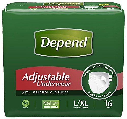 Depend Adjustable Underwear, Maximum Absorbency, L/XL, 64 count Unisex