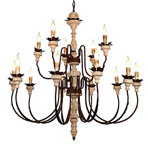 KunMai French Carved Wood Rust Metal Chandelier Leaf Accents Rustic Ceiling Light with Candelabra Lights (French Art Deco Chandelier)
