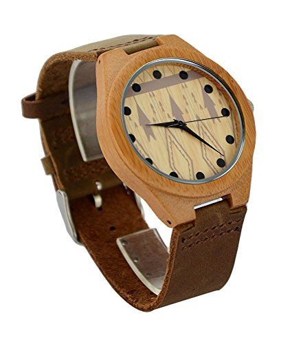 Ideashop Men's Fashion Bamboo Wooden Watch Leather Band Bamboo Case Watches Creative Gifts Ideashop