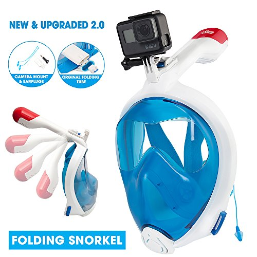 SEAWES Full Face Snorkel Mask – New Foldable Diving Mask with GoPro Compatible, 180° Panoramic Anti-fog & Anti-Leak Design, Safe & Adjustable Dry Snorkelling Gear – 2017 Upgraded For Easy (Panorama Mask)