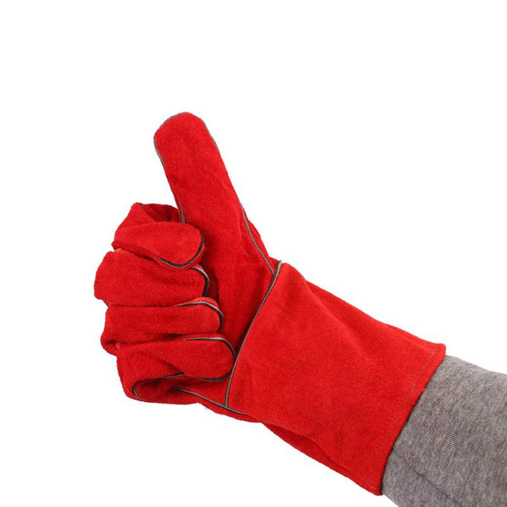 14Inch Fire and Heat Resistant Double Layer Cowhide Leather Welding Gloves Red for Welding, Machine Repair, Steel Smelting