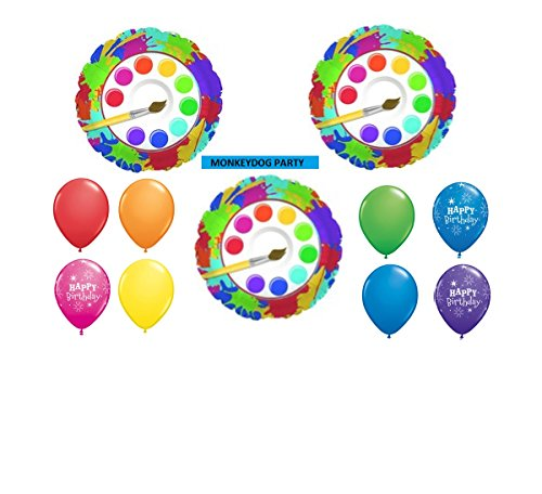 11pc BALLOON set ART PARTY paintbrush BIRTHDAY foils and latex NEW (Paintbrushes And Party)